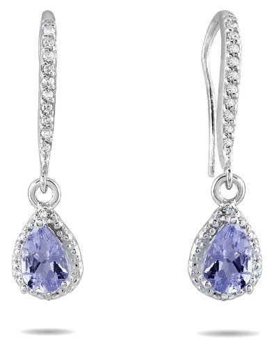 Tanzanite and Diamond Dangle Earrings in 10K White Gold