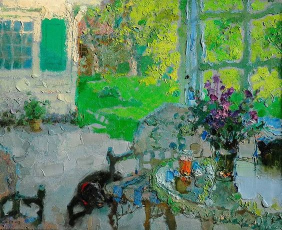 Beautiful Terraces and Interiors by Zhang Jing Sheng, Chinese Artist ~ Blog of an Art Admirer
