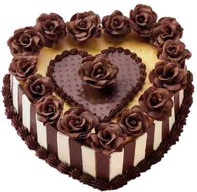 Chocolate Heart Cake with Roses PNG Picture Birthday ...