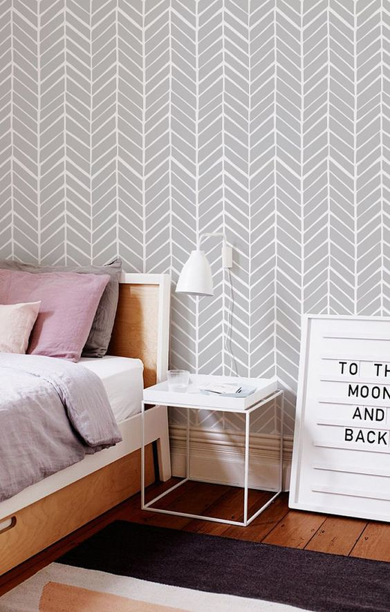 Self adhesive vinyl wallpaper - Herringbone pattern print - 026 SNOW/ WHISPER