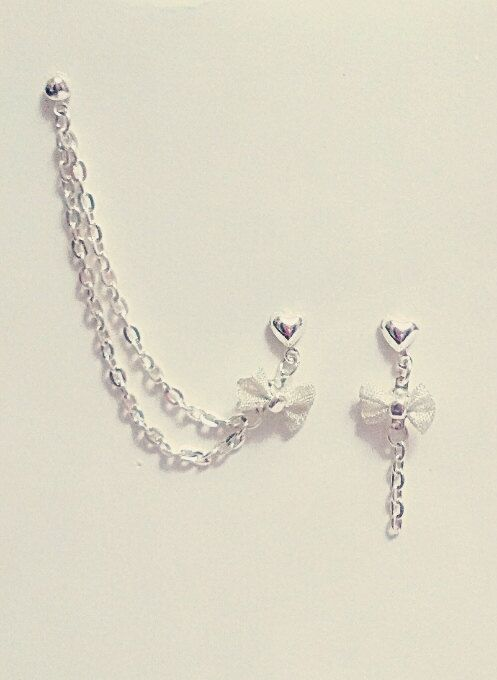 Bow Charm With Chains Cuff/Cartilage Earrings by SimplyyCharming, $7.50