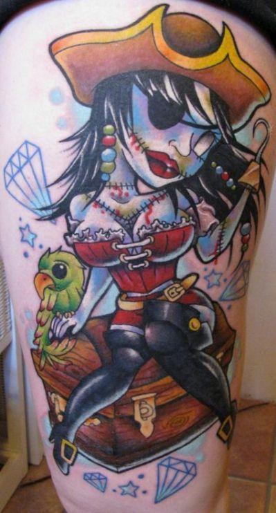 Zombie pirate pinup tattoo