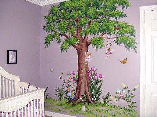 Fairy wall mural gothic woodland and princess wall for Fairy garden wall mural