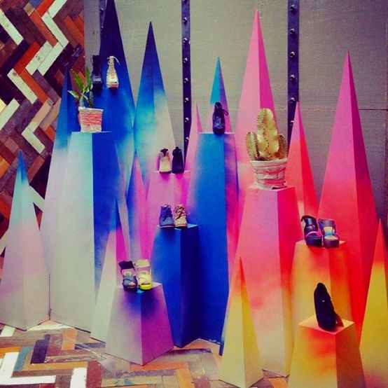 Rainbow shoes display