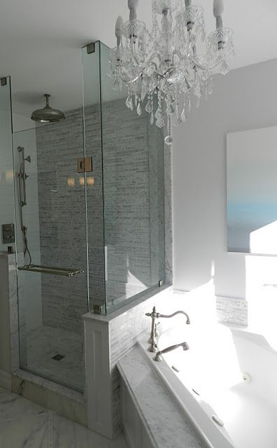 Jacuzzi Tub, Rain Shower and Chandelier. What more could you want!