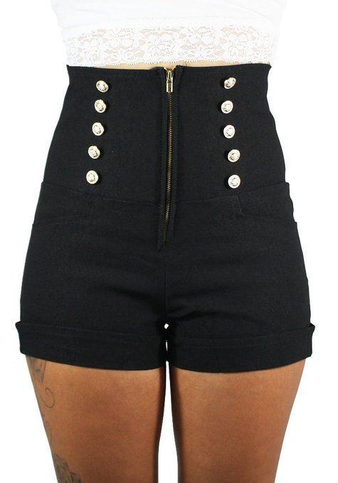 Sidecca Retro 10 Button Nautical High Waist Short-Black-Large