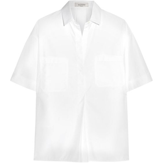 Valentino Cotton-poplin shirt (395 AUD) ❤ liked on Polyvore featuring tops, white, white shirt, loose fit tops, oversized tops, oversized shirt and loose tops