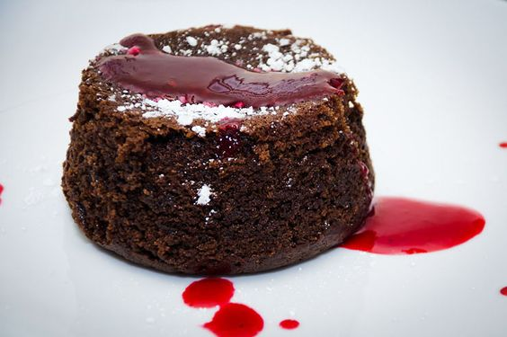Chef Chloe's Vegan Molten Chocolate Cake With Raspberry Sauce