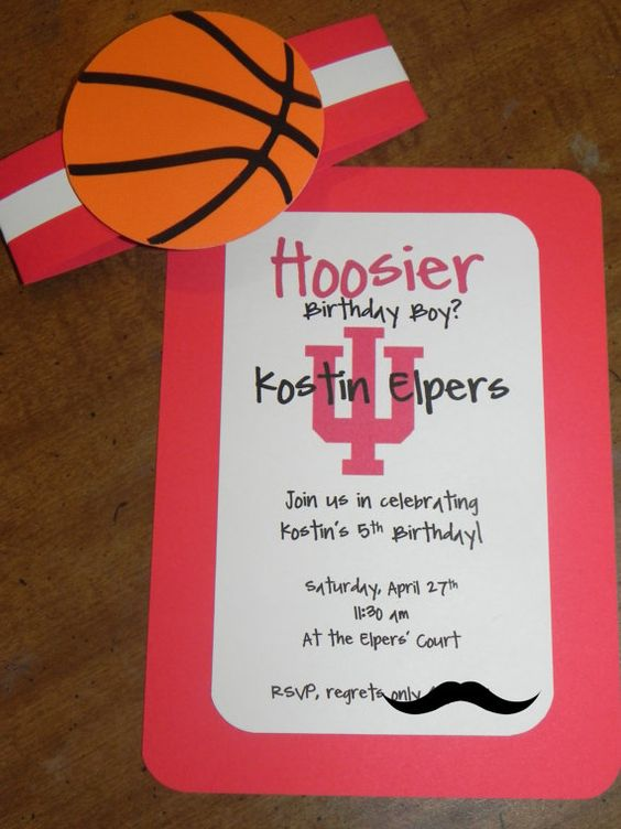 basketball birthday party invitations iu by jlmpartyshop on etsy 3000 - Basketball Party Invitations