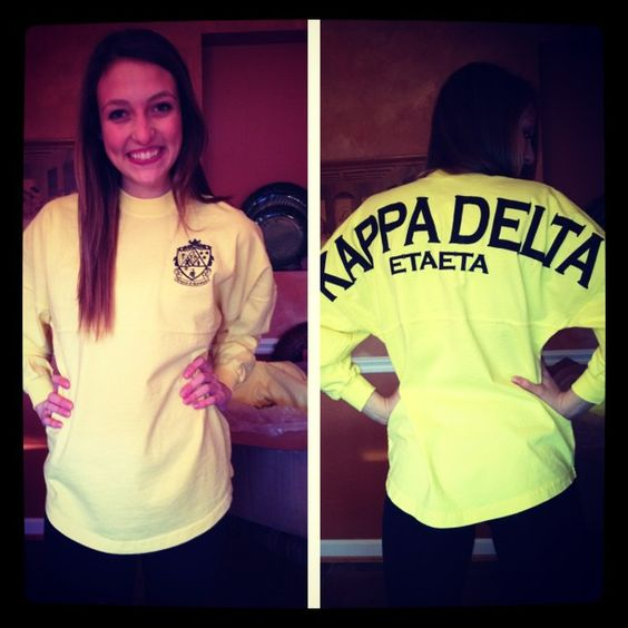 Kappa Delta spirit jersey in Yellow http://www.facebook.com/spiritfootballjersey
