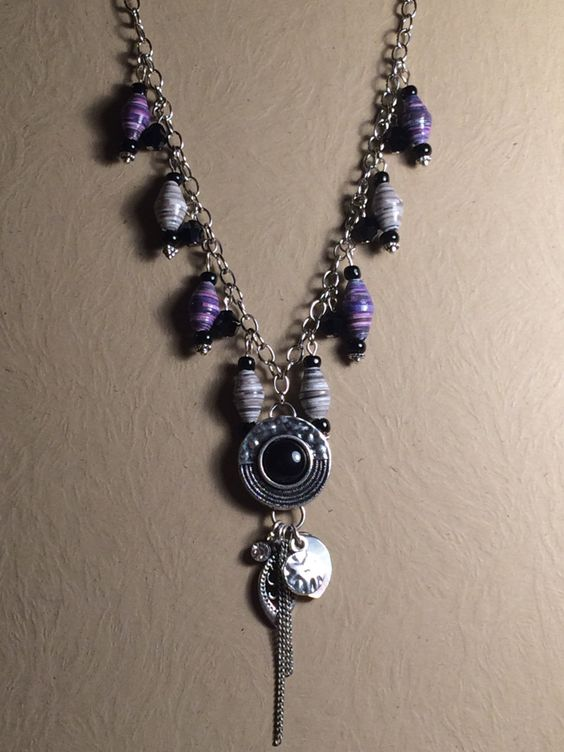 Plumb and Gray Paper Bead Necklace by KDCherishedCreations on Etsy