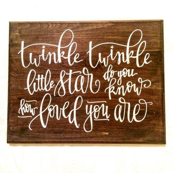 Baby nursery sign twinkle twinkle little star hand Calligraphy and sign