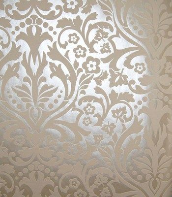 Baroque creme metal wallpaper