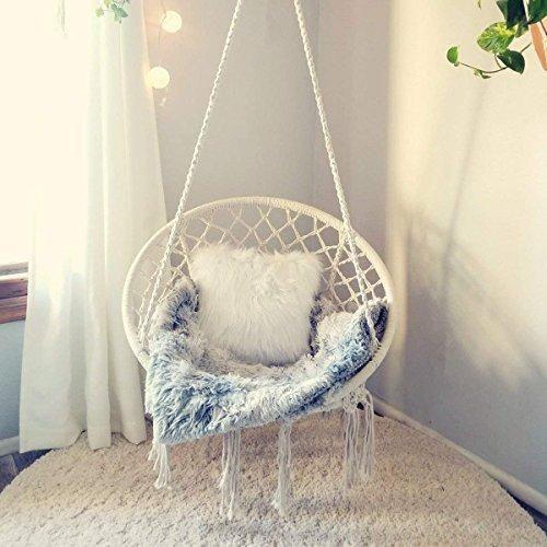 E Everking Macrame Swing Hammock Chair White Bedroom Swing Swing Chair Bedroom Cozy Room Decor