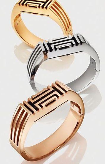 metal Tory Burch fitbit hinged bracelets