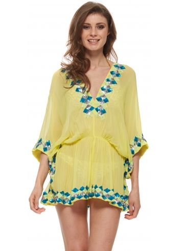 Lindsey Brown Manhattan Yellow Silk Kaftan Top With Chunky Sequins