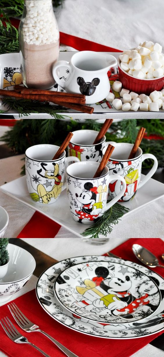 Disney holiday table setting. Cute Christmas breakfast decor!