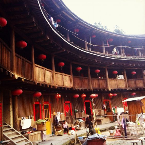 Where time stood still. Tulou house with Hakka people, in Xiamen, China.: