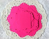 25 NEON PINK Gift Holiday Hang Tag Label shape Party Favors Cardstock paper punch 2.25 in x 1.5 in