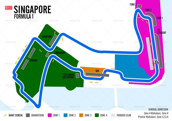Singapore Formula 1 Grand Prix - Marina Bay Circuit Map