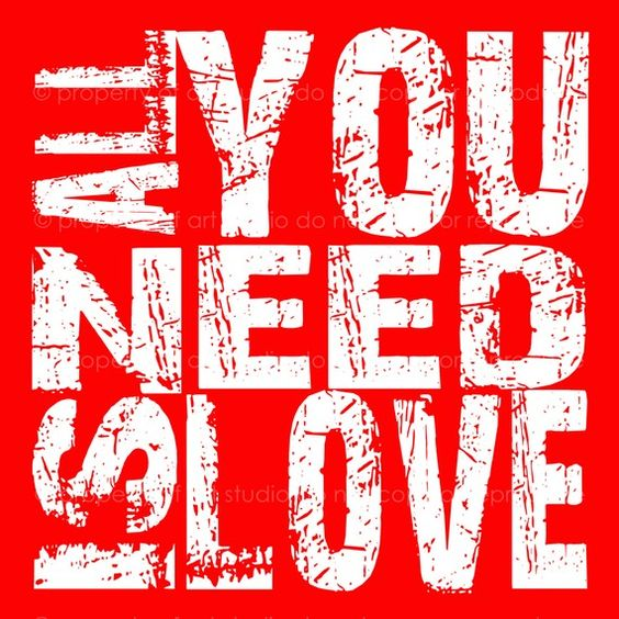 All You Need Is Love  White and Red Quote 8x8 by artstudio54, $25.00