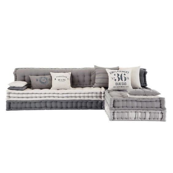 6 seater cotton modular corner day bed in grey Iroise