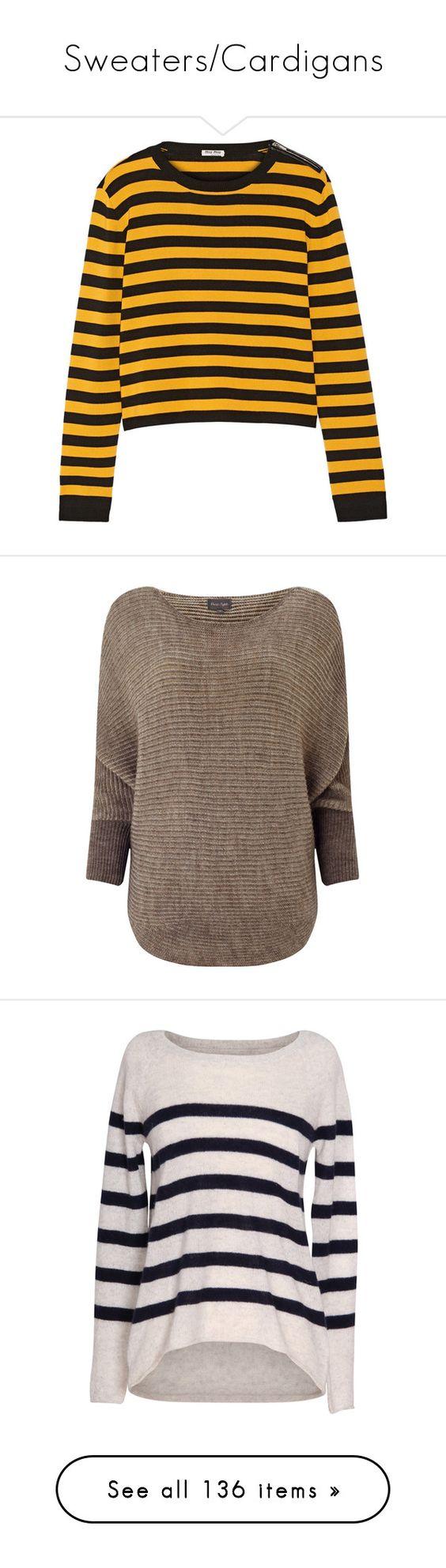 """Sweaters/Cardigans"" by asparkleinhereye on Polyvore featuring tops, sweaters, miu miu, jumpers, miu miu top, striped top, zipper sweater, wool-blend sweater, zipper top and brown"