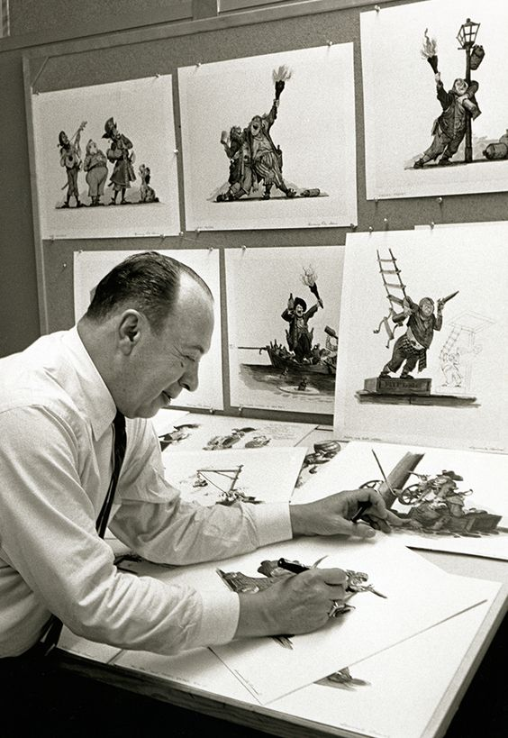 Disney Legend and Imagineer Marc Davis with concept art for Pirates of the Caribbean.  -Yes, this project, long time before becoming the multi-billion dollar Walt Disney Company franchise starring Johnny Depp in Live Action, it was a Animated traditional project, never released... (MP):