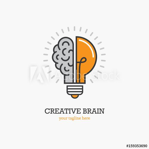 Logo With A Half Of Light Bulb And Brain In 2021 Education Logo Design Brain Logo Light Bulb Logo