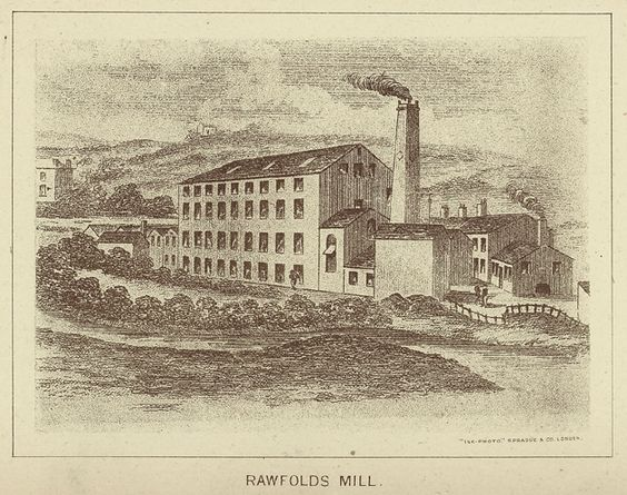 A depiction of Rawfolds Mill, Liversedge from Frank Peel's 'The Risings of the Luddites'. This depiction is sometime later than 1812 as, at the time, the mill was water-powered. Read more about Rawfolds Mill here http://ludditebicentenary.blogspot.co.uk/search/label/rawfolds%20mill