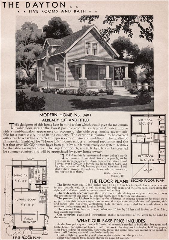 Craftsman cottage house and kit homes on pinterest for 1930s house plans