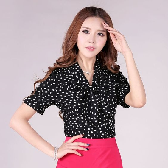 Summer 2015 New Fashion Blouses Women Short Sleeve Porka Dots ...
