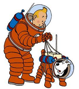 宇宙服を着たタンタンの画像