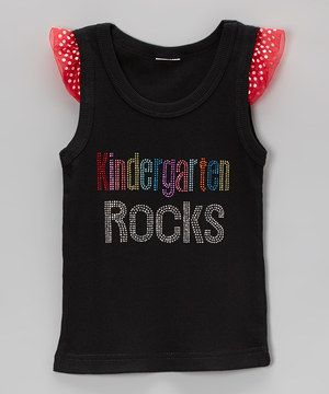 Another great find on #zulily! Black & Red 'Kindergarten Rocks' Angel-Sleeve Tank - Girls by Ready Set Sparkle Couture #zulilyfinds