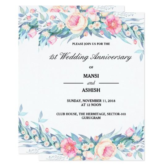 Elegant Watercolor Floral 1st Wedding Anniversary Invitation Zazzle Com Floral Wedding Invitations Watercolor Floral Wedding Invitations Wedding Anniversary Invitations