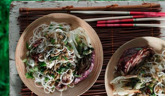 Grilled Radicchio & Bok Choy Salad with Green Lentils & Glass Noodles | Lentils For Every Season Volume 11 Garden to Table | Lentils.ca