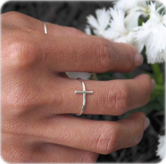 Sideways Cross Ring Minimal Handmade Sterling Silver Celebrity Inspired Sideways Cross Ring on Etsy, $27.00