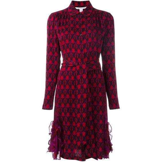 Diane Von Furstenberg printed shirt dress (1,260 BAM) ❤ liked on Polyvore featuring dresses, purple, print dress, diane von furstenberg dress, pattern dress, diane von furstenberg and purple shirt dress