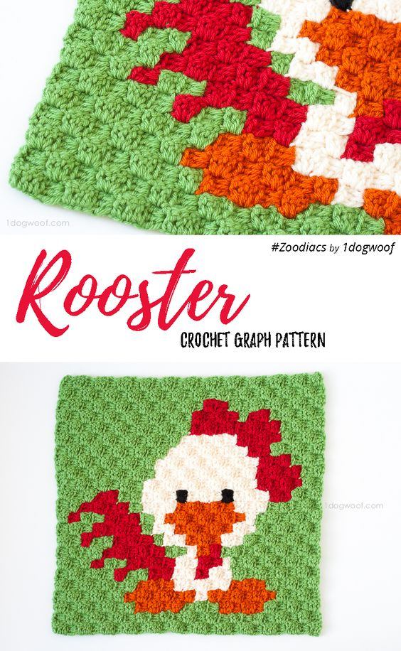 Zoodiacs Rooster C2C Crochet Graph by One Dog Woof | ideas ...
