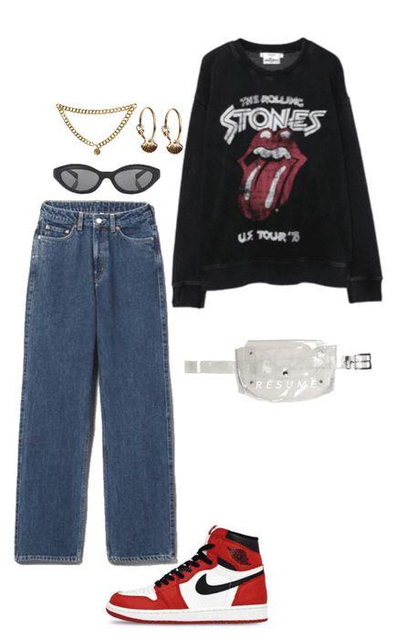 Rock it Casual   #rock #denim #casual #denim #fannypack #rollingstones #stones #sweatshirt #rockandroll #polyvore #shoplook