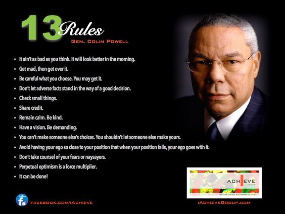 13 rules for success by gen colin powell quotes success wisdom leadership life rules. Black Bedroom Furniture Sets. Home Design Ideas