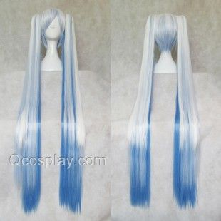Vocaloid Snow Songs Miku Blue and White Mixed Color Cosplay WigsHair Style: Split type wigsRole: Vocaloid Miku , Snow SongsMaterial: High Temperature Heat Resistant Synthetic Fibre ( Freely Shape, Heat Resistant up to 180°)Length: mainly 35cm (13.78