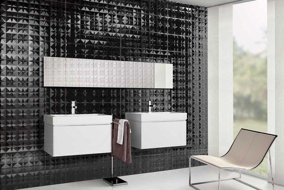 Azulejos Baño Relieve:de azulejos negros y blancos con brillo y relieve Azulejos