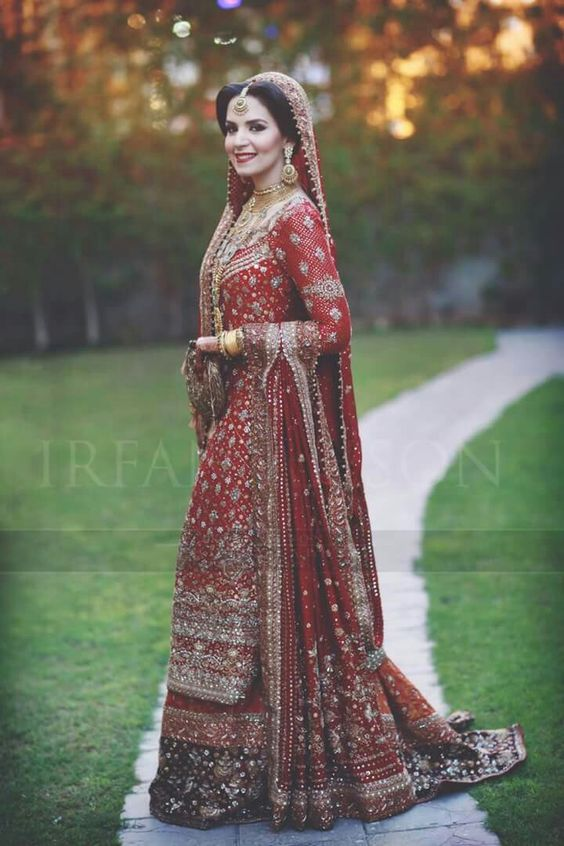 Long Red shirt with Lehnga for brides