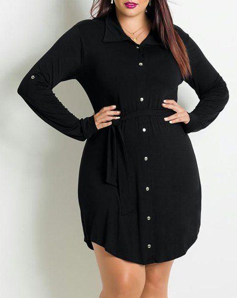 Fashionable Black Shirt Collar Long Sleeve Pleated Plus Size Dress For Women