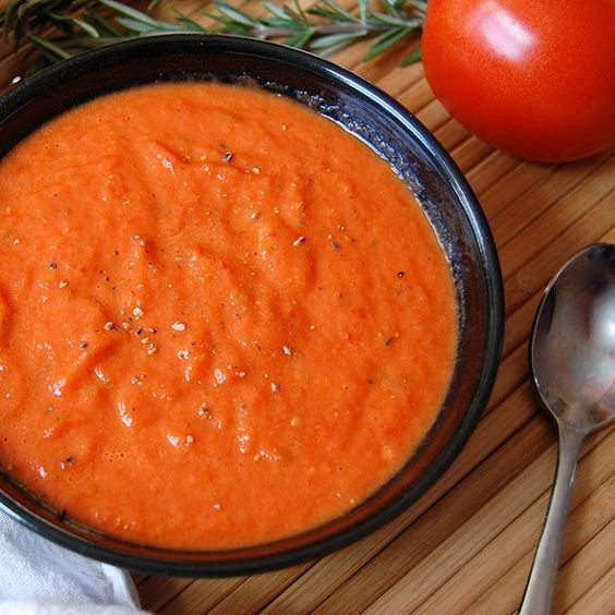 Roasted Red Pepper and Tomato Soup- one of my favorite paleo soups of all-time!