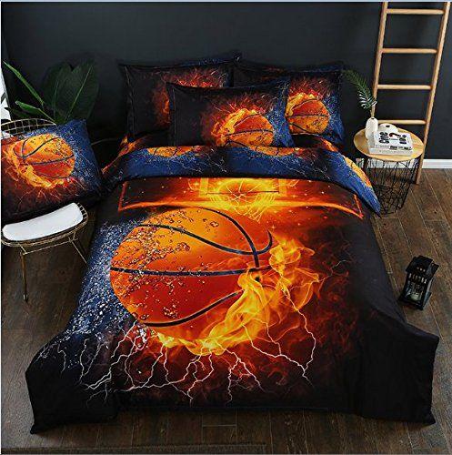 Sdiii 3pc Basketball Bedding Microfiber Full Queen Sport Duvet