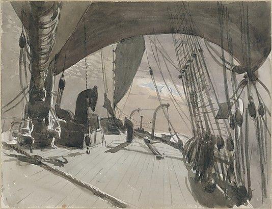 Deck of Ship in Moonlight (watercolour) - John singer Sargent