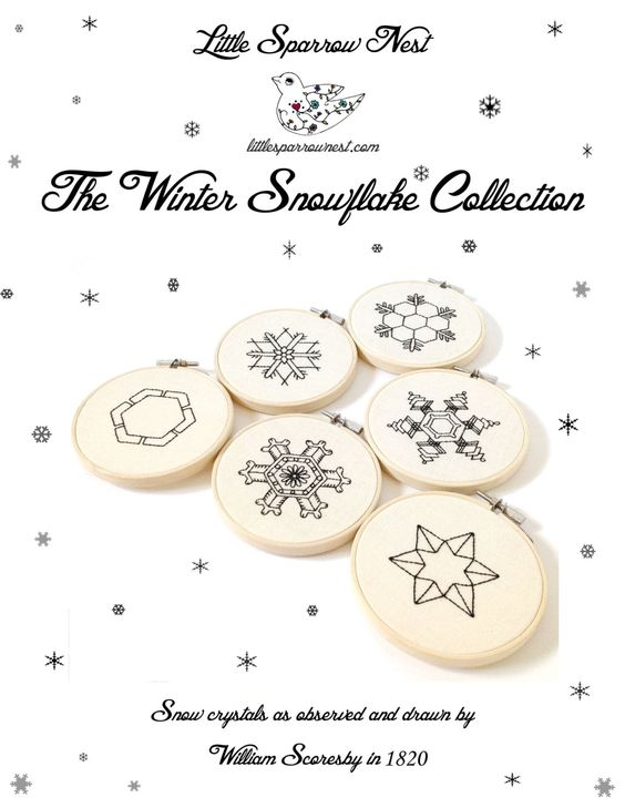 The Winter Snow Flake Collection ~  Six 6 Embroidery PDF's ~ Instant Digital Download  Snow Crystal Embroidery Pattern ePattern . by LittleSparrowNest on Etsy