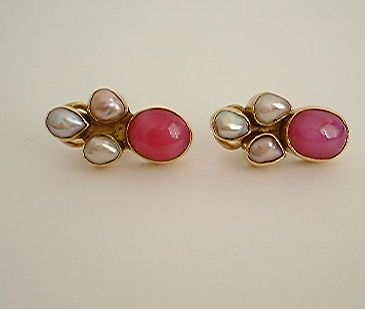 Star Ruby and Pearl Clip On Earrings in vermeil